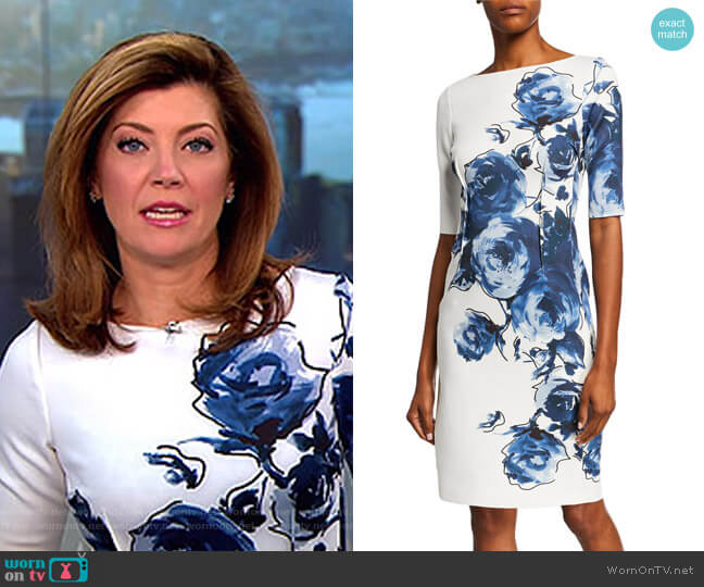 Floral Scuba Cocktail Dress by Rickie Freeman for Teri Jon worn by Norah O'Donnell  on CBS This Morning