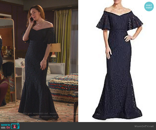 Off-the-Shoulder Lace Mermaid Gown by Rickie Freeman for Teri Jon worn by Abigail Pershing (Sarah Power) on Good Witch