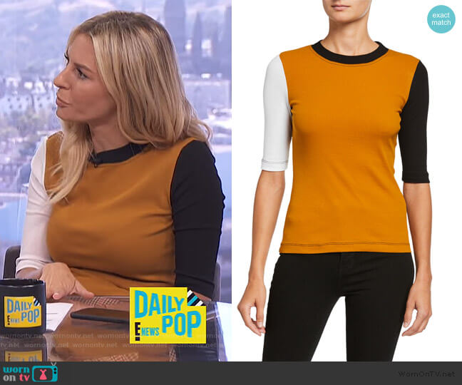 Colorblocked Cotton Half Sleeve Shirt by Rosetta Getty worn by Morgan Stewart  on E! News
