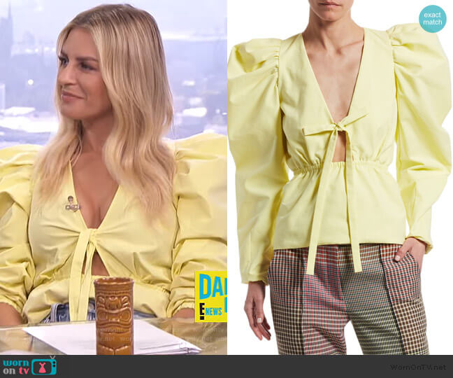 ictorian Puff-Sleeve Top by Rosie Assoulin worn by Morgan Stewart  on E! News