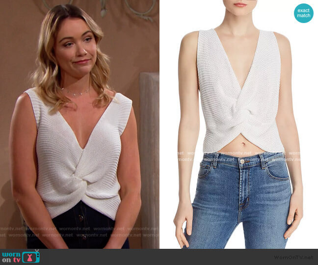 Sage the Label Say You Love Me Twist-Front Knit Top worn by Florence (Katrina Bowden) on The Bold & the Beautiful