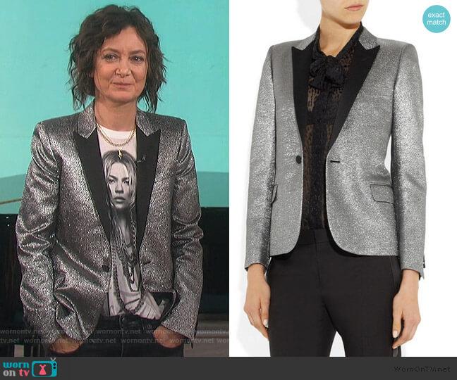 Metallic jacquard tuxedo jacket by Saint Laurent worn by Sara Gilbert  on The Talk