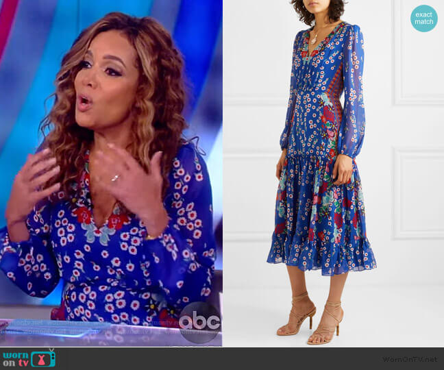 Devon Floral Silk Dress by Saloni worn by Sunny Hostin  on The View