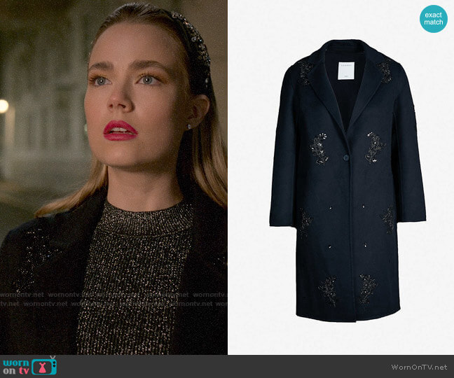 Sandro Lumiere Embellished Coat worn by Ainsley Howard (Rebecca Rittenhouse) on Four Weddings & a Funeral