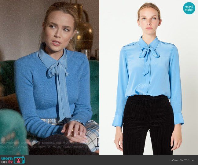 Sandro Silk Shirt with Bow Collar worn by Ainsley Howard (Rebecca Rittenhouse) on Four Weddings & a Funeral