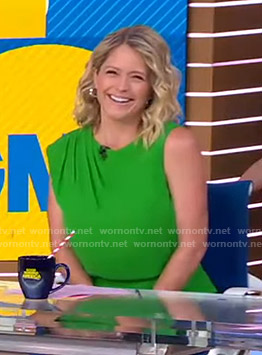 Sara's green pleated shoulder top on Good Morning America