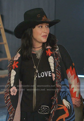 Shannen's black Love tee and embroidered cardigan on BH90210