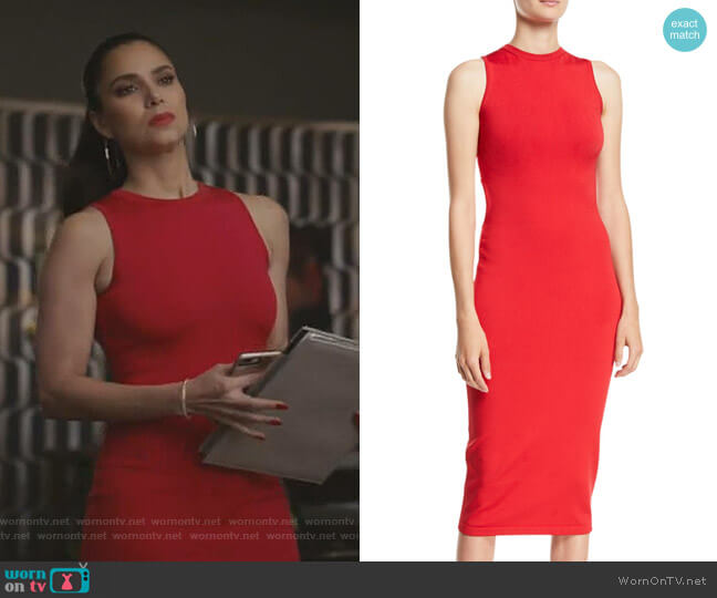 Sleeveless Body-Con Midi Dress w Cutout Back by Cushnie worn by Gigi Mendoza (Roselyn Sánchez) on Grand Hotel