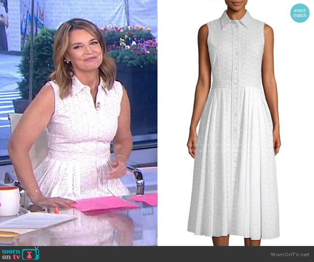Sleeveless Eyelet Shirt Dress by Michael Kors worn by Savannah Guthrie  on Today