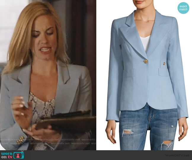 Duchess Wool Blazer in Cloud by Smythe worn by Kelly Anne Van Awken (Molly Burnett) on Queen of the South