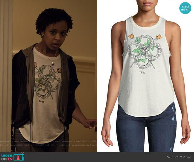 Snakes & Roses Lust Graphic Tank by Chaser worn by Ani (Grace Saif) on 13 Reasons Why