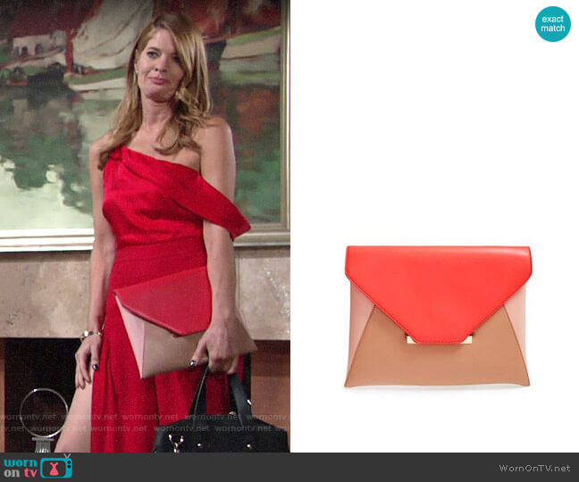 Sole Society Colorblock Faux Leather Envelope Clutch worn by Phyllis Summers (Michelle Stafford) on The Young & the Restless