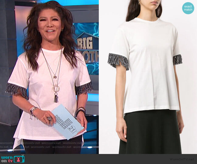 Asymmetric Fringe T-Shirt by Sonia Rykiel worn by Julie Chen  on Big Brother