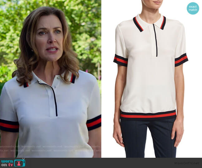 Striped-Trim Polo Shirt by St. John Collection worn by Nora Walker (Brenda Strong) on 13 Reasons Why