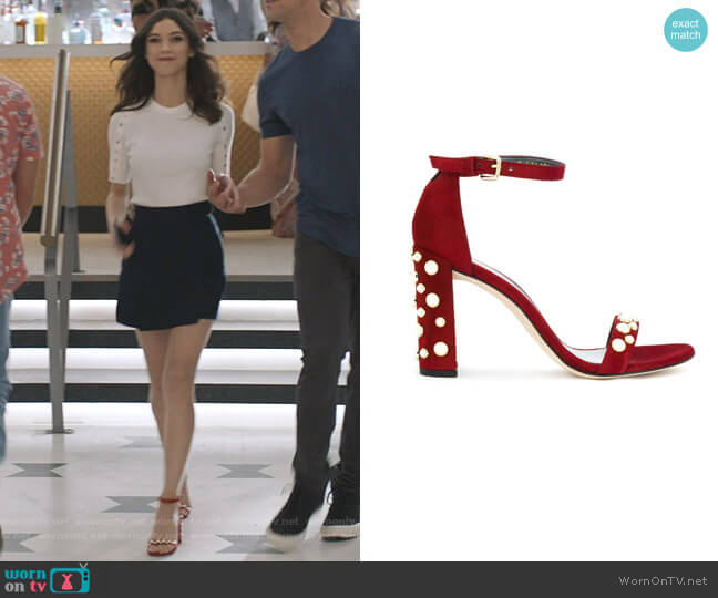 Pearl Embellished Sandals by Stuart Weitzman worn by Alicia Mendoza (Denyse Tontz) on Grand Hotel