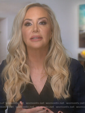 Shannon's navy wrap blouse on The Real Housewives of Orange County