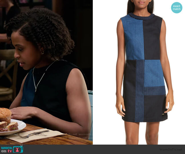 Morfee London Colorblock Denim A-Line Dress by Ted Baker worn by Ani (Grace Saif) on 13 Reasons Why