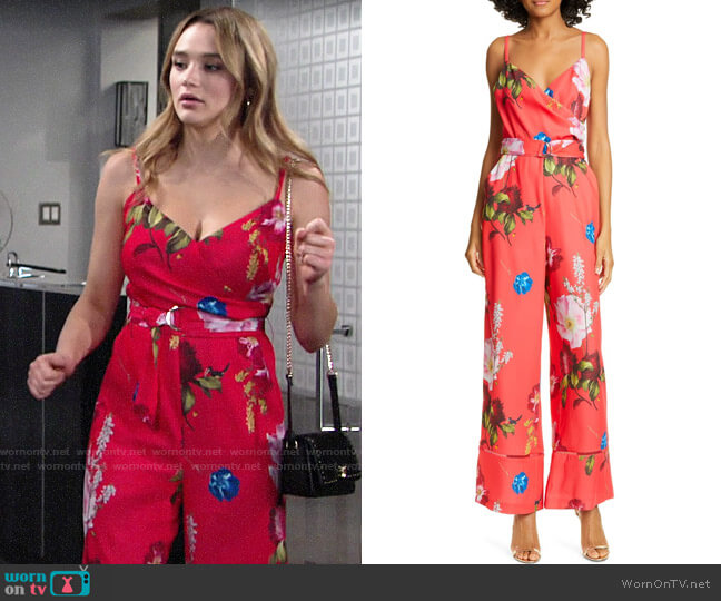 Ted Baker Piiper Berry Sundae Wrap Jumpsuit worn by Summer Newman (Hunter King) on The Young & the Restless