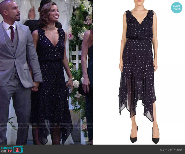 The Kooples Metallic-Dot Midi Wrap Dress worn by Elena Dawson (Brytni Sarpy) on The Young & the Restless
