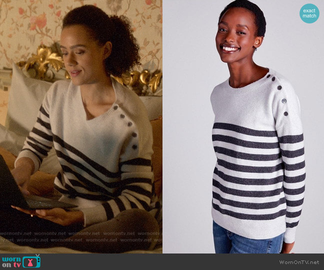 The White Company Button Shoulder Breton Stripe Sweater worn by Maya (Nathalie Emmanuel) on Four Weddings & a Funeral