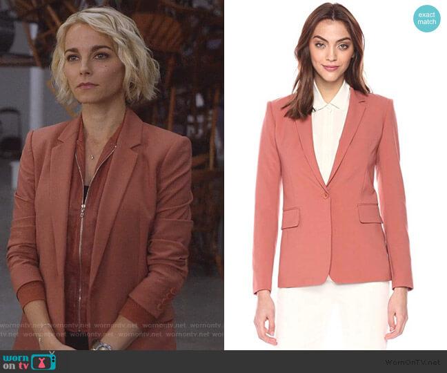 Classic One Button Essential Jacket by Theory worn by Lizzie Needham (Bojana Novakovic) on Instinct
