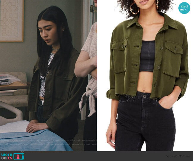 Sonny Raw Hem Shacket by Topshop worn by Alex Portnoy (Brianne Tju) on Light as a Feather