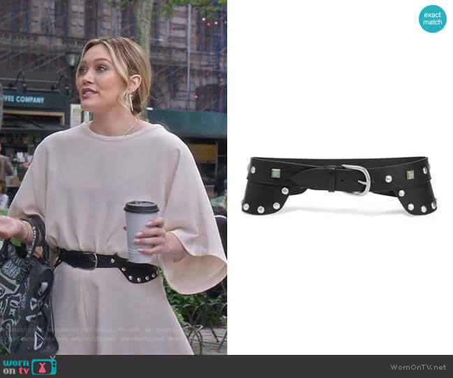 Tricy embellished Leather Waist Belt by Isabel Marant worn by Kelsey Peters (Hilary Duff) on Younger
