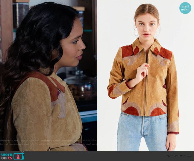 Suede Parrot Jacket by Urban Outfitters worn by Jessica Davis (Alisha Boe) on 13 Reasons Why