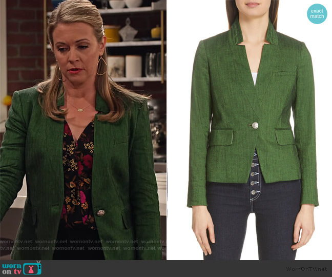 Farley Linen Blend Dickey Jacket by Veronica Beard worn by Liz (Melissa Joan Hart) on No Good Nick