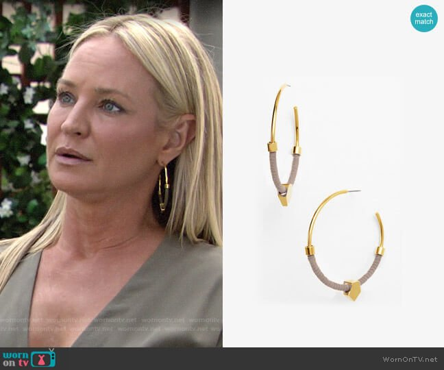 Vince Camuto Summer Warrior Hoop Earrings worn by Sharon Collins (Sharon Case) on The Young & the Restless