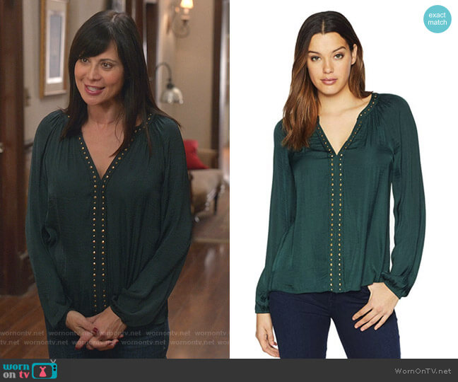 Rumple Stud Trim Blouse by Vince Camuto worn by Cassandra Nightingale (Catherine Bell) on Good Witch