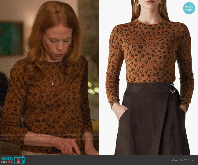 Whistles Cheetah Printed Sparkle Knit worn by Gemma (Zoe Boyle) on Four Weddings & a Funeral