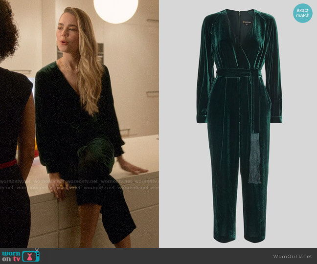 Whistles Thea Wrap Velvet Jumpsuit worn by Ainsley Howard (Rebecca Rittenhouse) on Four Weddings & a Funeral