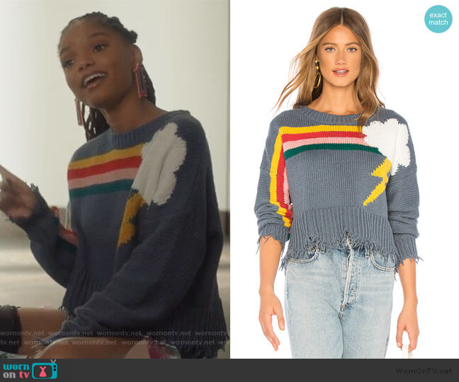 Rainbow Storm Sweater by Wildfox worn by Skylar Forster (Halle Bailey) on Grown-ish