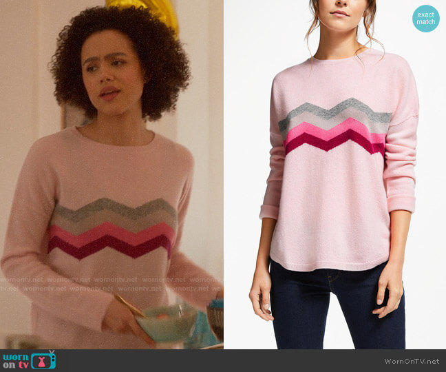 Wyse London Celine Zig Zag Cashmere Jumper worn by Maya (Nathalie Emmanuel) on Four Weddings & a Funeral