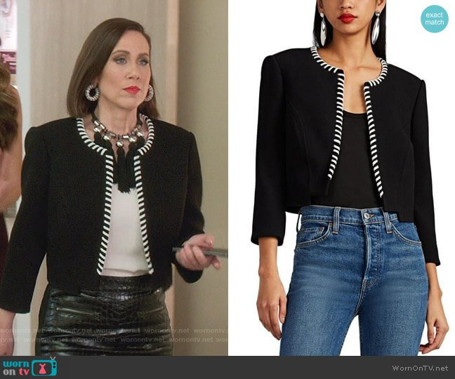 Whipstitched Crepe Neoprene Crop Jacket by Zac Posen worn by Diana Trout (Miriam Shor) on Younger