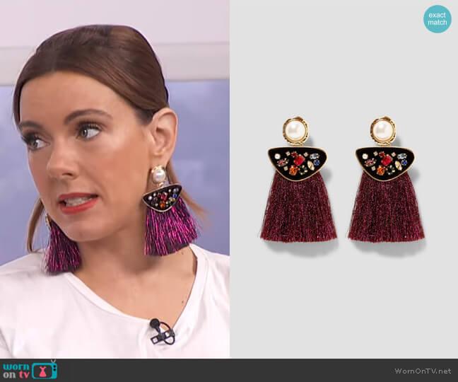 Pearl Fringe Earrings by Zara worn by Melanie Bromley  on E! News