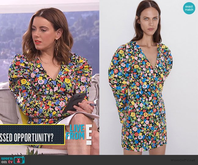 Printed Mini Dress with Puff Sleeves by Zara worn by Melanie Bromley  on E! News