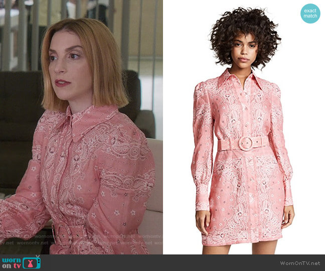 Heathers Bandana Shirtdress by Zimmermann worn by Lauren (Molly Bernard) on Younger