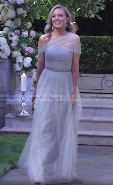 Abby's blue maid of honor dress on The Young and the Restless