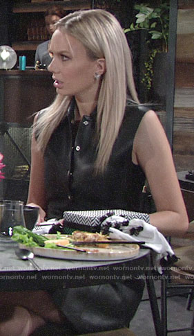 Abby's leather button front dress on The Young and the Restless
