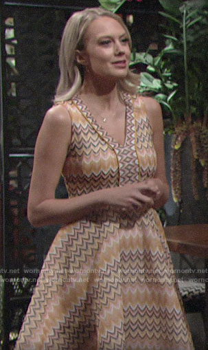 Abby's orange scalloped stripe dress on The Young and the Restless