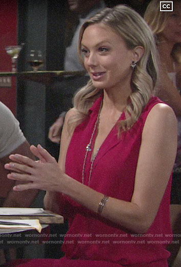 Abby's pink draped top and jeans on The Young and the Restless