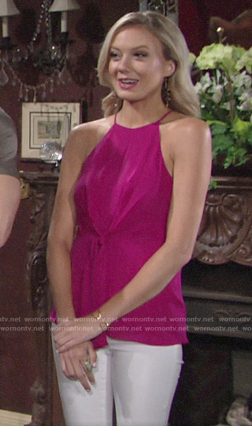 Abby's pink tie front top on The Young and the Restless