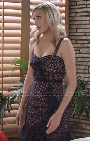 Abby's ruffled eyelet dress on The Young and the Restless