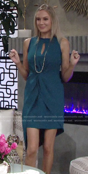 Abby's teal blue asymmetric twist front dress on The Young and the Restless