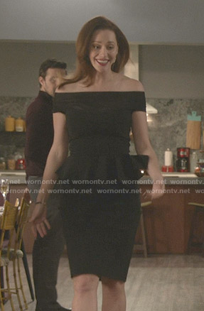 Abigail's black off-shoulder peplum dress on Good Witch