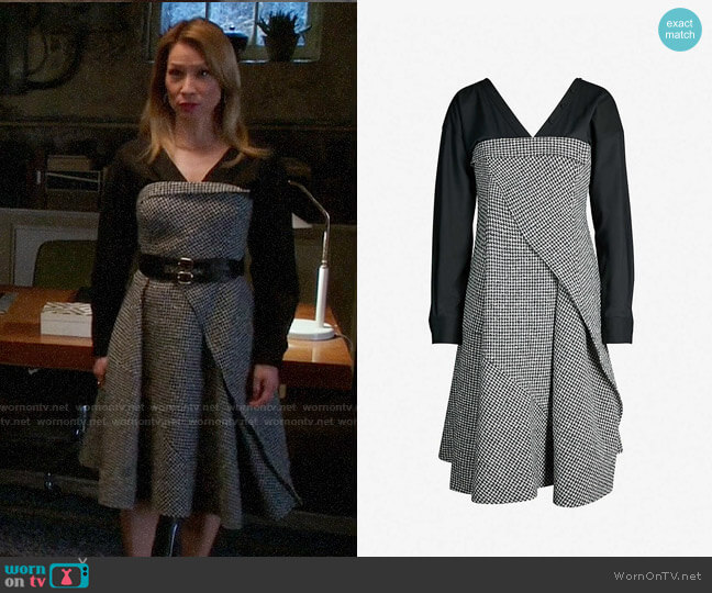 Adeam Houndstooth V-neck Wool-blend Tweed Boucle Dress worn by Joan Watson (Lucy Liu) on Elementary