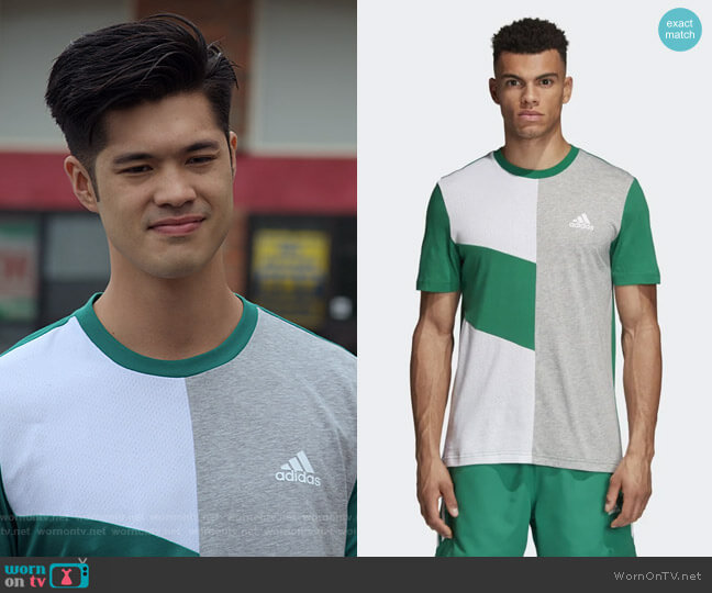 Sport ID Colorblock Tee by Adidas worn by Zach Dempsey (Ross Butler) on 13 Reasons Why