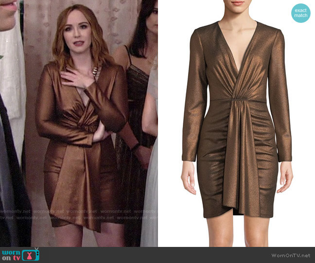 Aidan Mattox V-Neck Long-Sleeve Foiled Knit Mini Dress worn by Mariah Copeland (Camryn Grimes) on The Young & the Restless
